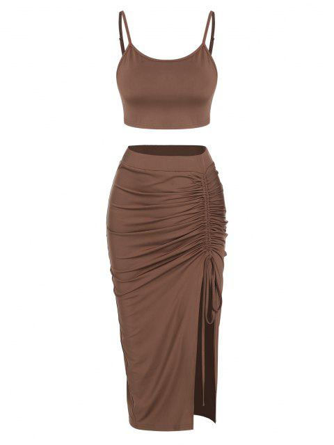 latest ZAFUL Cinched Split Ruched Two Piece Skirt Set - DEEP COFFEE M Mobile
