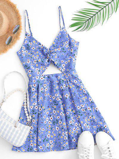 Flower Print Twisted Bowknot Back Cutout Dress - Light Blue S