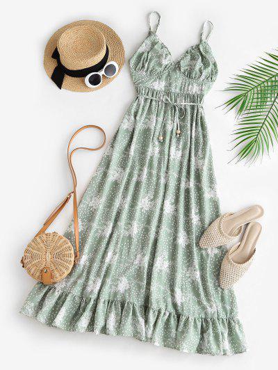 Spaghetti Strap Floral Ruffled Maxi Bustier Dress - Light Green M