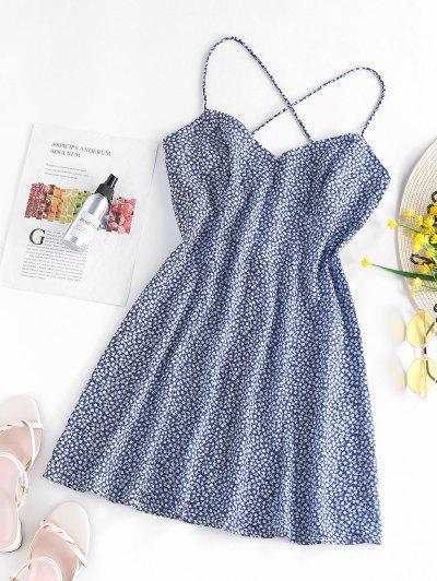ZAFUL Ditsy Print Criss Cross Open Back Dress - Deep Blue S