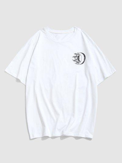 ZAFUL Sonnen Monddruck Kurzarm T-Shirt - Weiß Xl