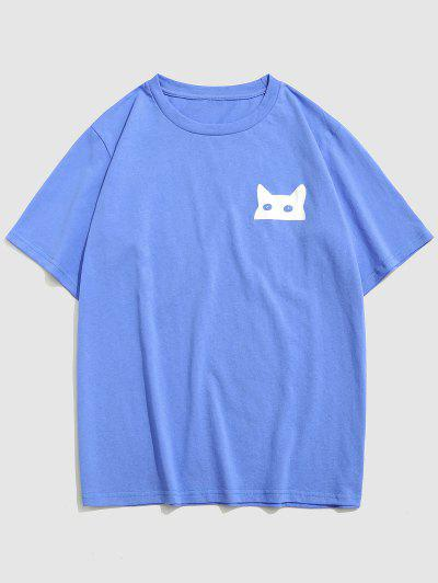 ZAFUL Cartoon Cat Print Basic T-shirt - Blue S