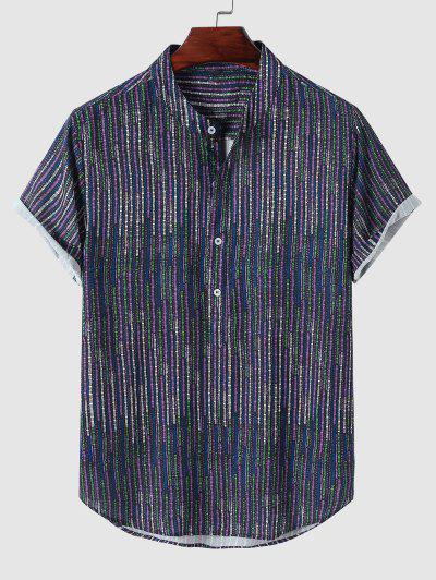Stripe Half Button Short Sleeve Shirt - Purple M