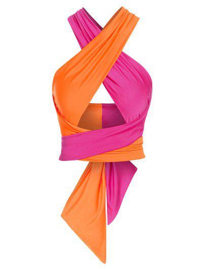 ZAFUL Colorblock Criss Cross Tie Tank Top - Dark Orange