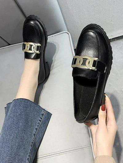Chain Embellished Heeled Slip-On Shoes - Graphite Black Eu 37