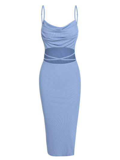 ZAFUL Ribbed Midriff Flossing Split Cami Dress - Light Blue L