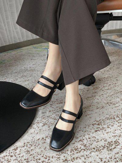 Square Toe Double Strap Chunky Heel Pumps - Black Eu 37