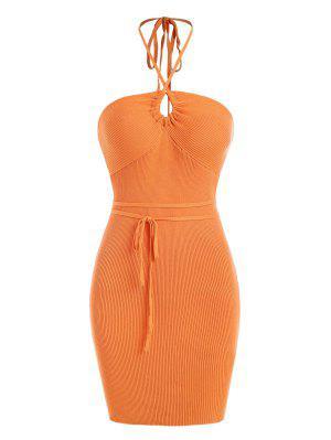 zaful Rib Knit Halter Belted Slinky Dress