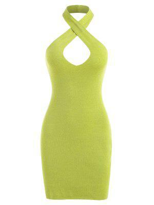 zaful Criss Cross Halter Knitted Slinky Dress