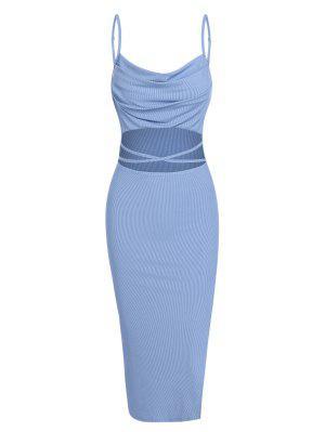 zaful ZAFUL Ribbed Midriff Flossing Split Cami Dress