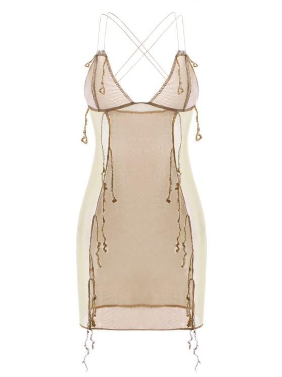 chic Overlock Stitching Ribbed Mesh Strappy Slinky Dress - LIGHT COFFEE L