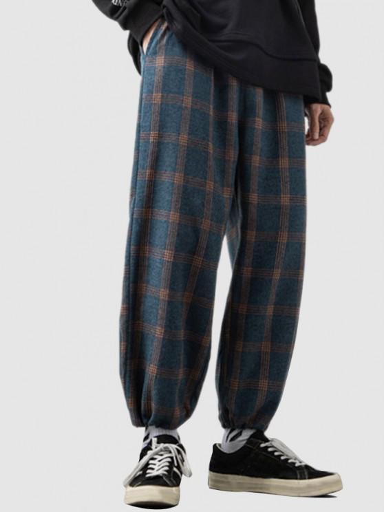 Karierte Muster Elastische Taillenhose - Tiefes Blau S