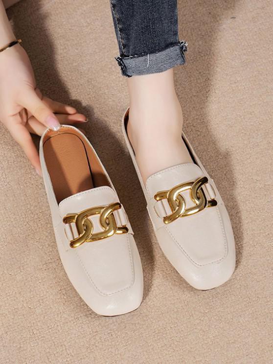 Square Toe Chain Embellishment Slip-On Shoes - اللون البيج الاتحاد الأوروبي 37