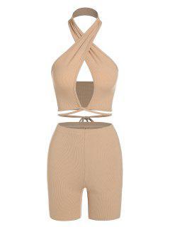 ZAFUL Set De Bikini De Halter Con Abdomen Shorts - Café Luz S