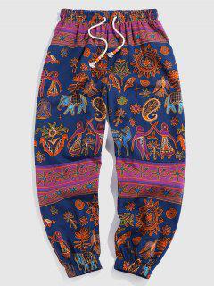 ZAFUL Paisley Flower Tribal Print Pants - Deep Blue Xxl