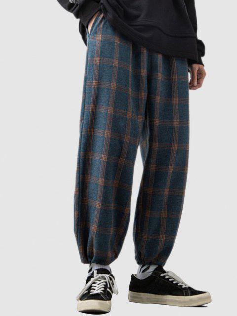 affordable Plaid Pattern Elastic Waist Pants - DEEP BLUE L Mobile