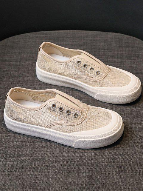 Blumenstickerei Mesh Durchsicht Atmungsaktive Schlüpfende Schuhe - Helles Khaki EU 37 Mobile