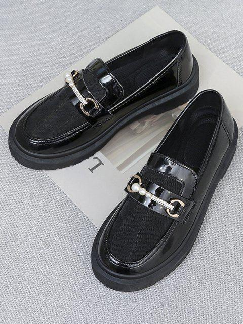 Retro Künstliche Perlen Schlüpfende Schuhe - Graphitschwarz EU 37 Mobile