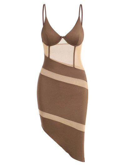Mesh Panel Slinky Asymmetrical Corset Bustier Dress - Coffee M