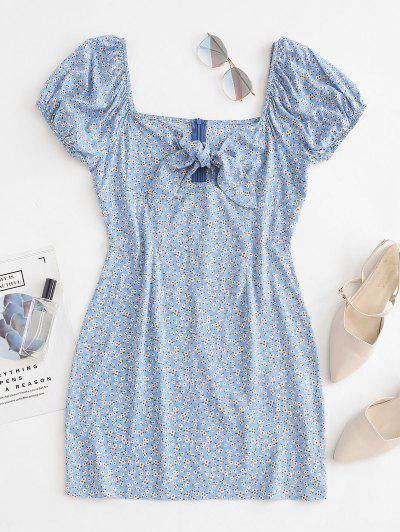 ZAFUL Tiny Floral Print Knotted Sheath Dress - Light Blue S