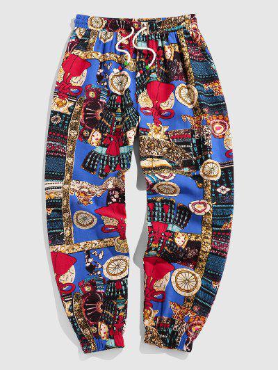 ZAFUL Tribal Patchwork Vintage Pants - Blue Xl