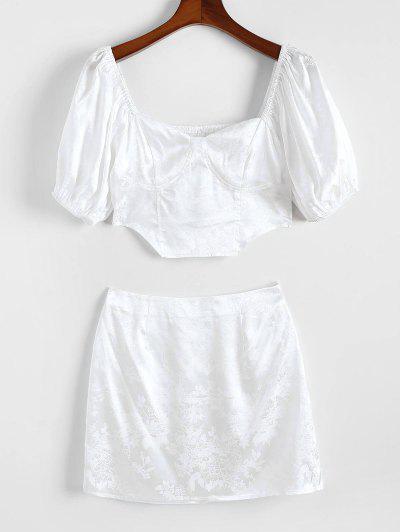 ZAFUL Flower Jacquard Smocked Satin Puff Sleeve Mini Skirt Set - White L