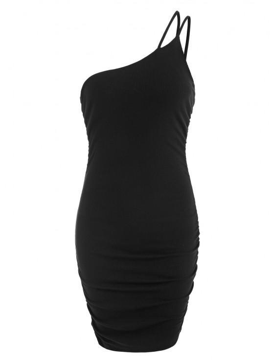 hot One Shoulder Rib-knit Ruched Slinky Bodycon Dress - BLACK S
