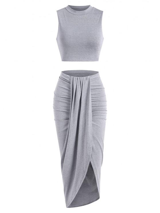 sale Marled Crop Top and Draped Ruched Maxi Skirt Set - GRAY L