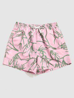 Tree Branches Print Vacation Shorts - Orange Pink Xl