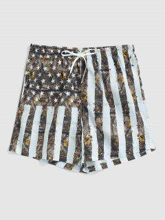 American Flag Print Vacation Shorts - Light Gray M