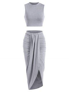 Marled Crop Top And Draped Ruched Maxi Skirt Set - Gray S