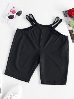 ZAFUL Shorts De Corte Lateral De Escalera - Negro M
