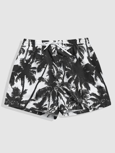Palm Tree Print Vacation Shorts - Black M