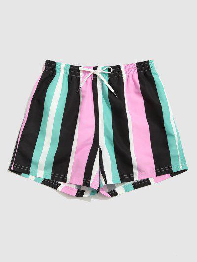 Contrast Stripe Pattern Shorts - Multi L
