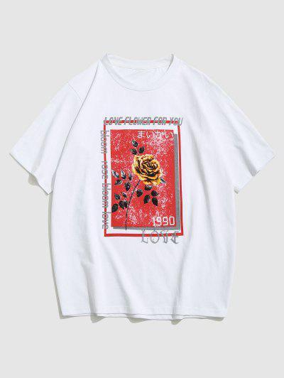 ZAFUL Letter Rose Flowers Print Graphic T-shirt - White Xxl