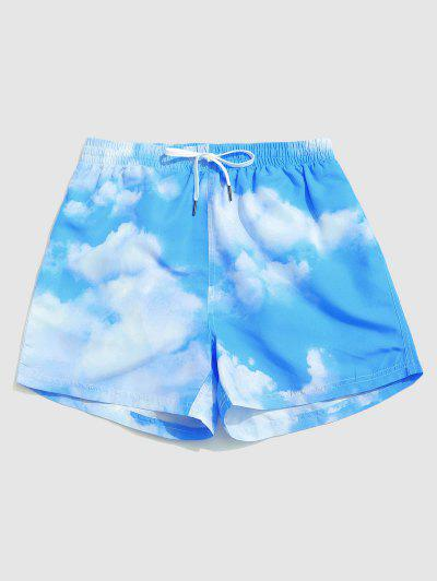 Sky And Clouds Print Vacation Shorts - Day Sky Blue L