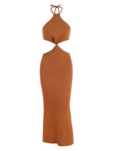 Halter Knit Cutout Slinky Maxi Dress - Orange M
