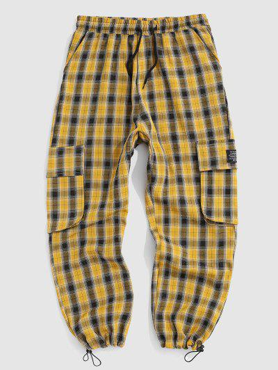 Plaid Letter Patched Casual Pants - Sun Yellow L