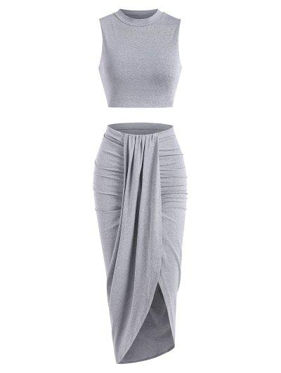 Marled Crop Top And Draped Ruched Maxi Skirt Set - Gray L