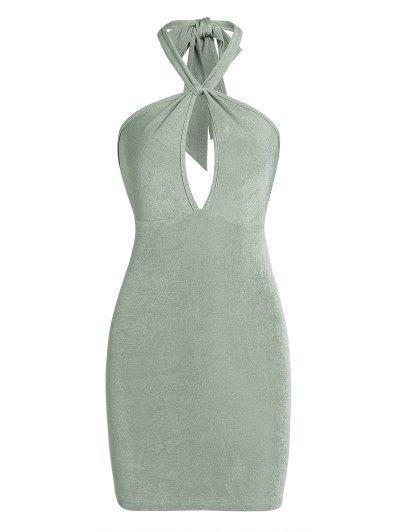 ZAFUL Halter Keyhole Backless Slinky Dress - Light Green L