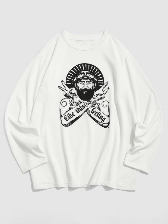 ZAFUL Character Graphic Print Long Sleeve T-shirt - أبيض XXL