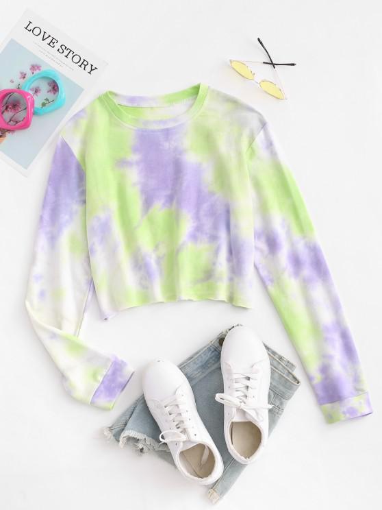 new Tie Dye Print Long Sleeve Cropped T-shirt - MULTI S