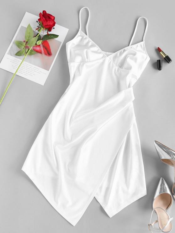 chic ZAFUL Cupped Cami Asymmetric Dress - WHITE S