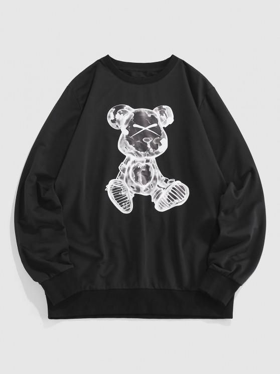 ZAFUL Angry Cartoon Dog Print Sweatshirt - أسود XL