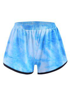 Shorts De Sudor De Tie-dye Con Delfín - Azul Claro L