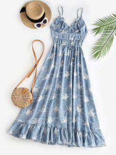 Spaghetti Strap Floral Ruffled Maxi Bustier Dress - Light Blue S