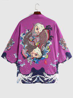 ZAFUL Koi Fisch Meer Welledruck Kimono - Eintracht L