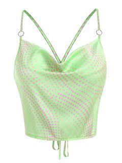 Cowl Neck Polka Dot Napkin Satin Top - Light Green S