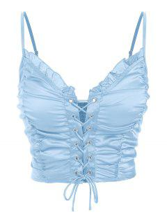 ZAFUL Ruched Lace Up Smocked Crop Top - Light Blue S