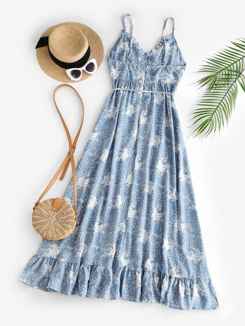 ladies Spaghetti Strap Floral Ruffled Maxi Bustier Dress - LIGHT BLUE S Mobile